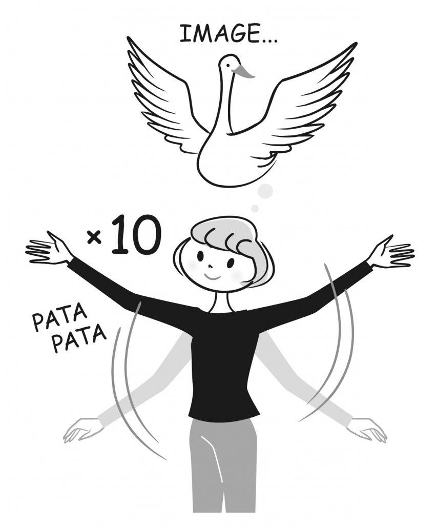 白鳥のように腕パタパタ