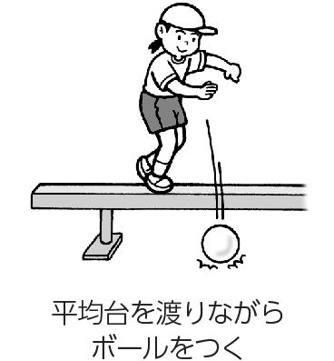 平均台を渡りながらボールをつく