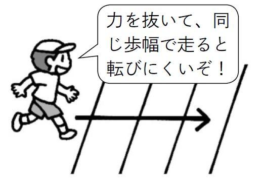 力を抜いて同じ歩幅で走ると転びにくい