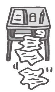 机からプリントがアコーディオン状になって出てくるイラスト