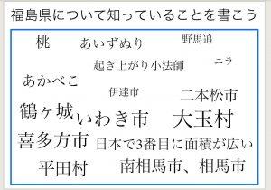 子どもがスクールタクトに列記した「知っている福島県の特徴」の例。