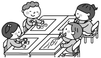 活動に応じて、机と椅子を使用する