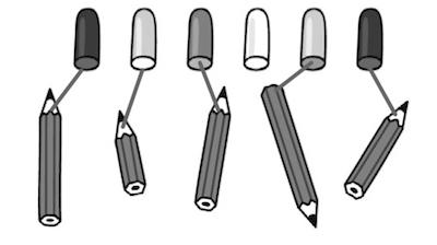 鉛筆とキャップを無作為に線で結んである図