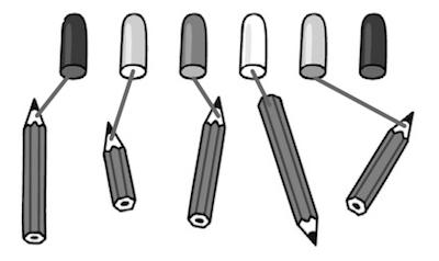 鉛筆とキャップが順次対応して結ばれている図
