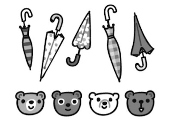 傘5本とクマ4匹の図