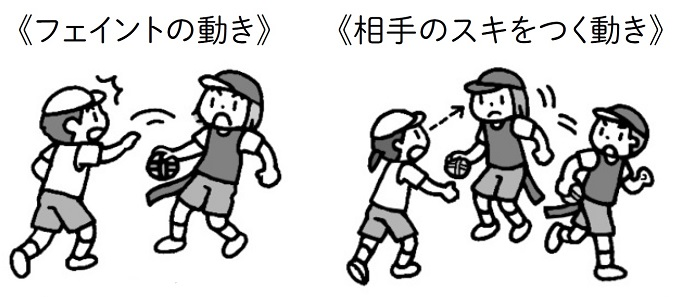 子供が見つけたよい動き。フェイントの動きや、相手のスキをつく動き