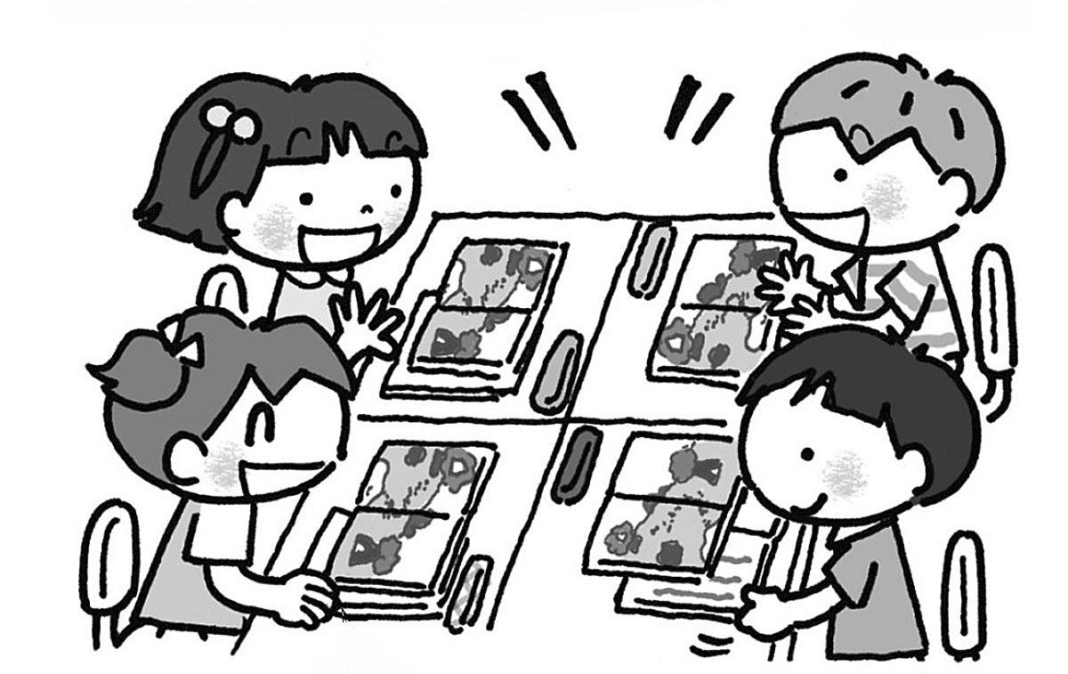 グループで音読劇の内容を考えます