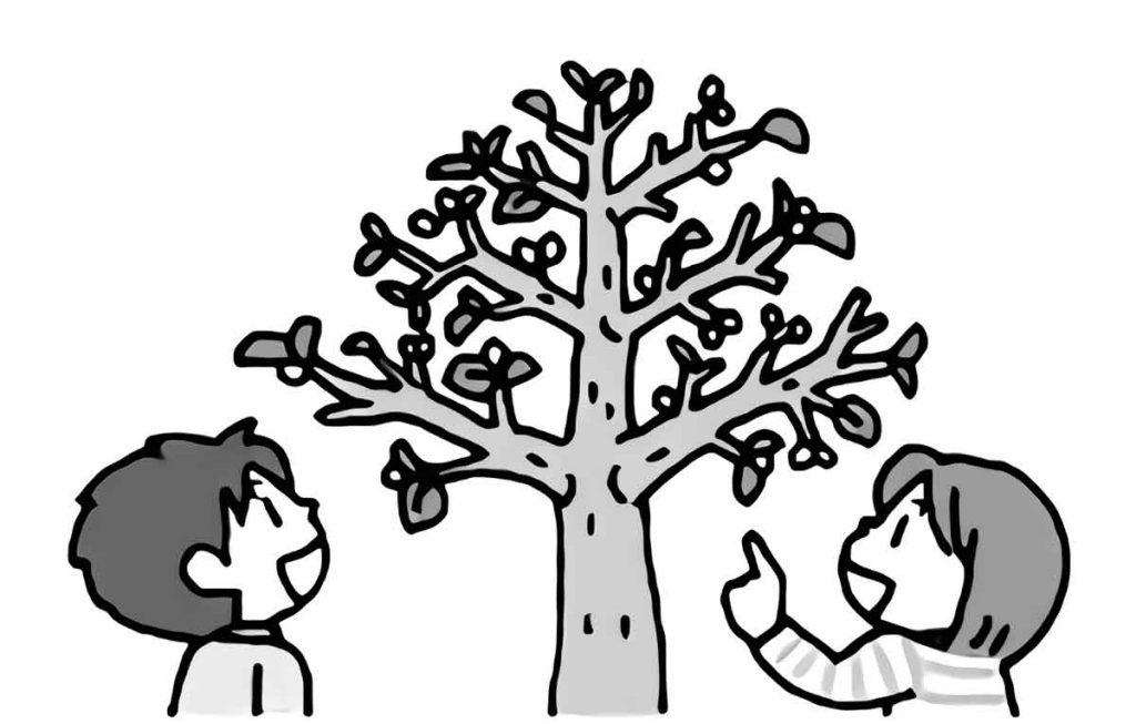 春の木を見ている子供