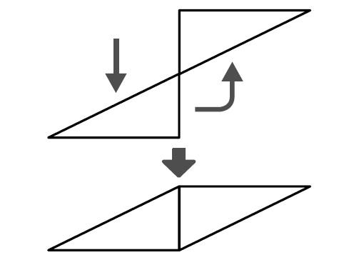 ずらして頂点を重ねて、そこを中心に回すと重なる