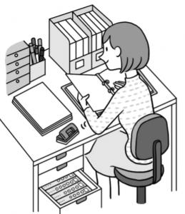 職員室で書類の整理をする先生のイラスト