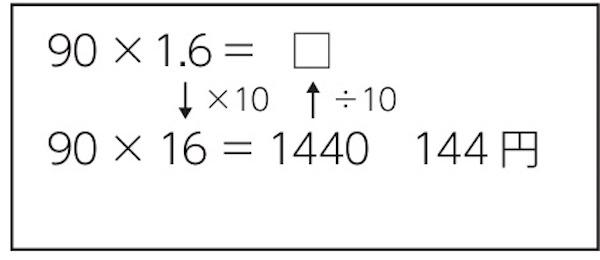 子供に期待する解答の具体例の計算式