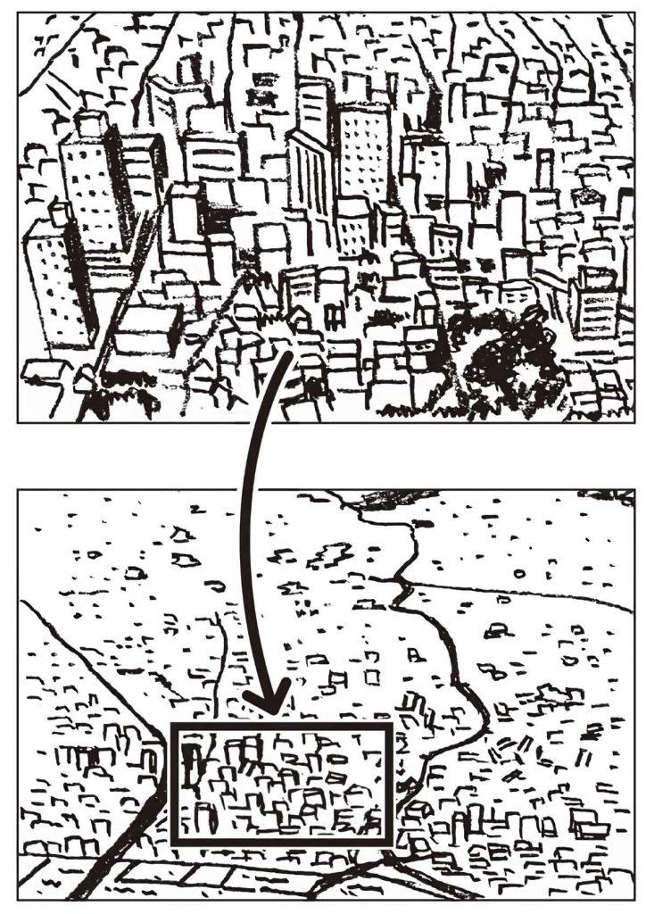 町の様子を航空写真で確認する