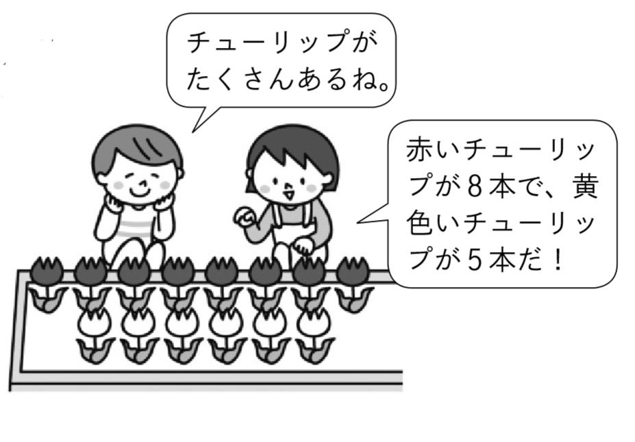 男の子「チューリップがたくさんあるね。」女の子「赤いチューリップが8本で、黄色いチューリップが5本だ!」