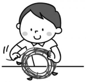 あさがおのつるでリースを作る男の子のイラスト。
