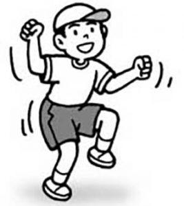 おへそだけでなく、腕もスイングだ!  おしりもふりふり!しゃがんだり、立ち上がったりもできるよ!