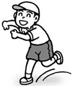 おっと!「走る」と「弾む」は少し違うね。スキップしながら移動してごらん!