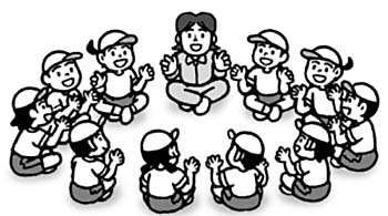 教師が示す動きの例。座った状態から