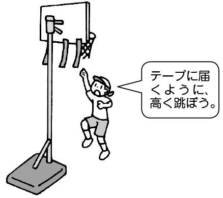 「テープに届くように、高く跳ぼう」