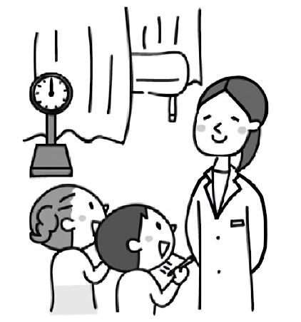 子供たちが保健室の先生にインタビューしているイラスト