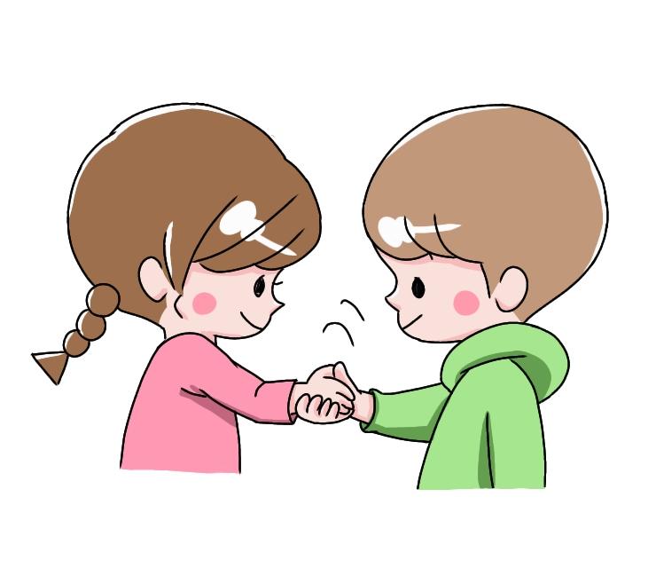 挨拶して握手して回るという活動のイラスト