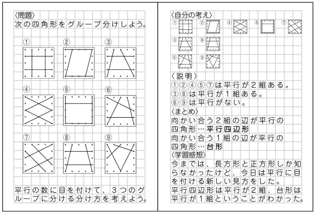 本時の子供のノート例