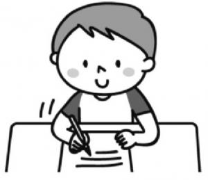 あさがおに手紙を書く男の子のイラスト。