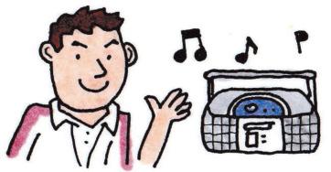 音楽をかけている先生