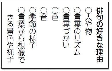 俳句の好きな理由を示した表