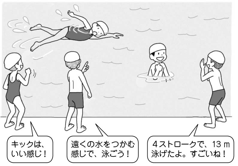 「キックはいい感じ!」「遠くの水をつかむ感じで、泳ごう!」「4ストロークで、13m泳げたよ。すごいね!」