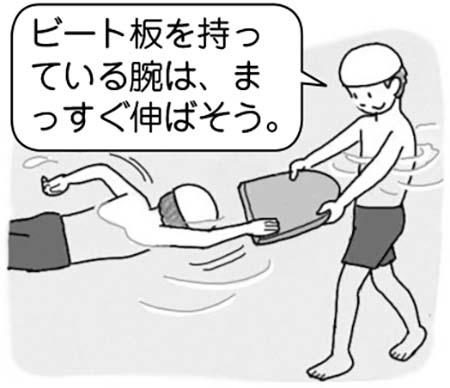 「ビート板を持っている腕は、まっすぐ伸ばそう」