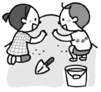 砂遊びする子供たちのイラスト