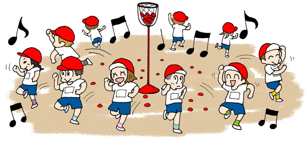 ③ん? 競技途中に音楽が…。音楽が流れ始めたら玉を置いてスタート位置に戻って、Let's Dancing!