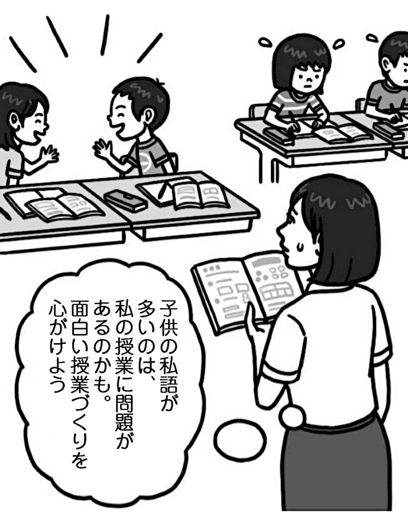先生「子供の私語が多いのは、私の授業に問題があるのかも。面白い授業づくりを心がけよう」