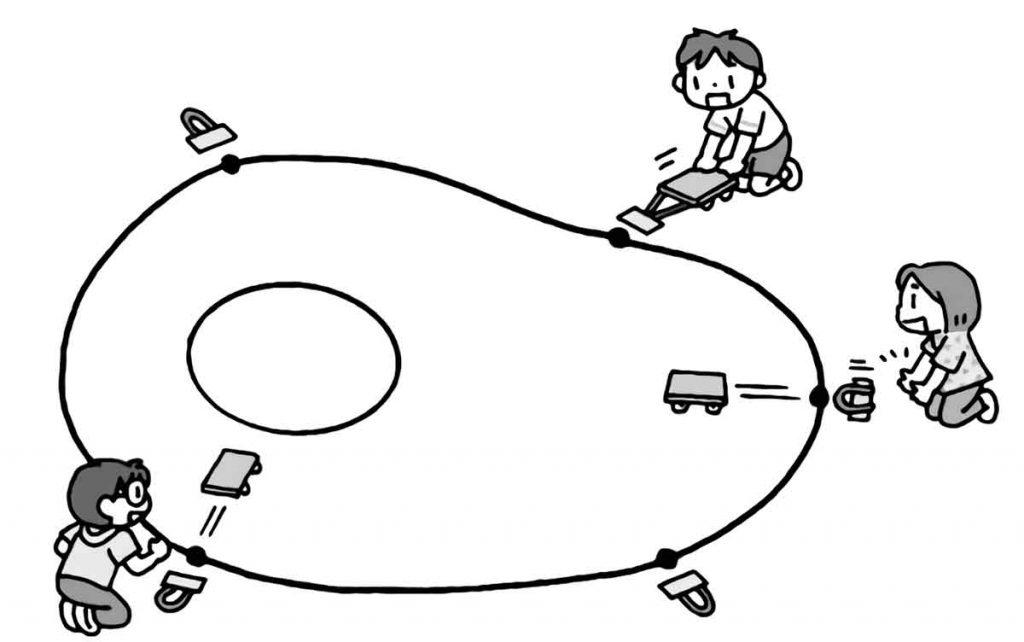 ゴムで動く車を使って、ピタッとゲーム