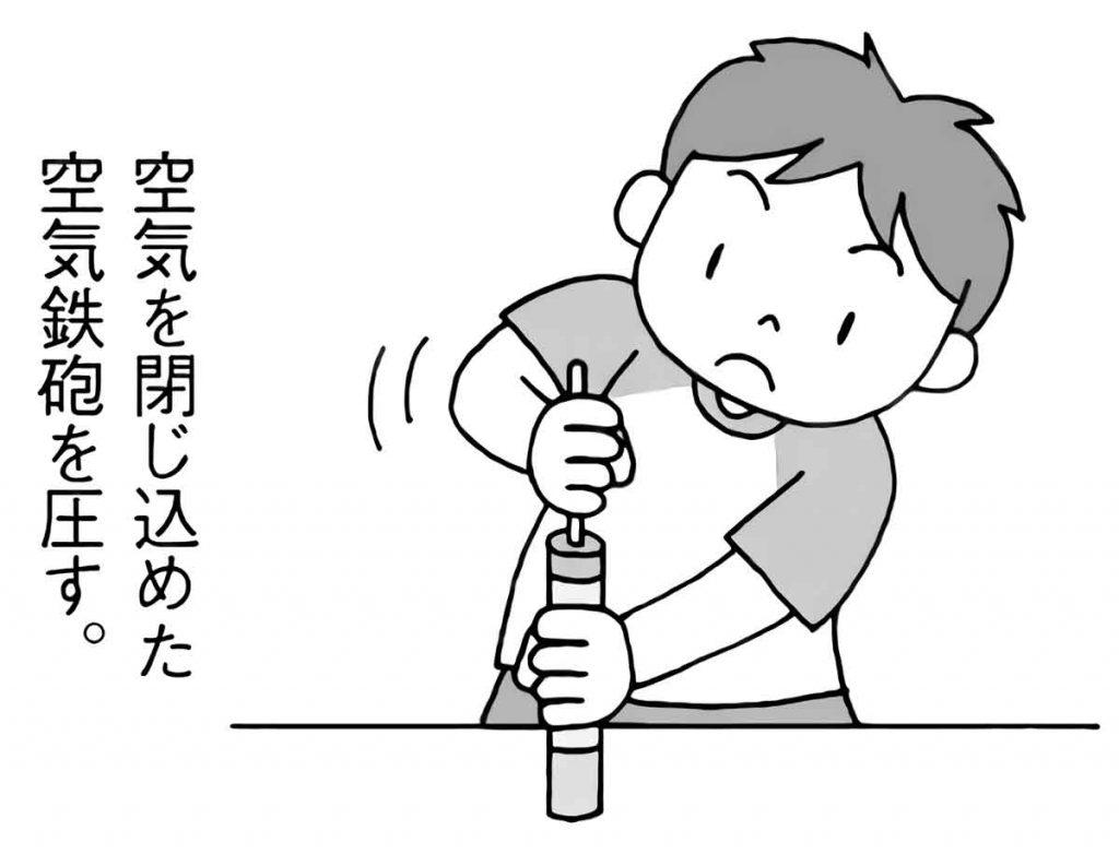 空気を閉じ込めた空気鉄砲を圧す
