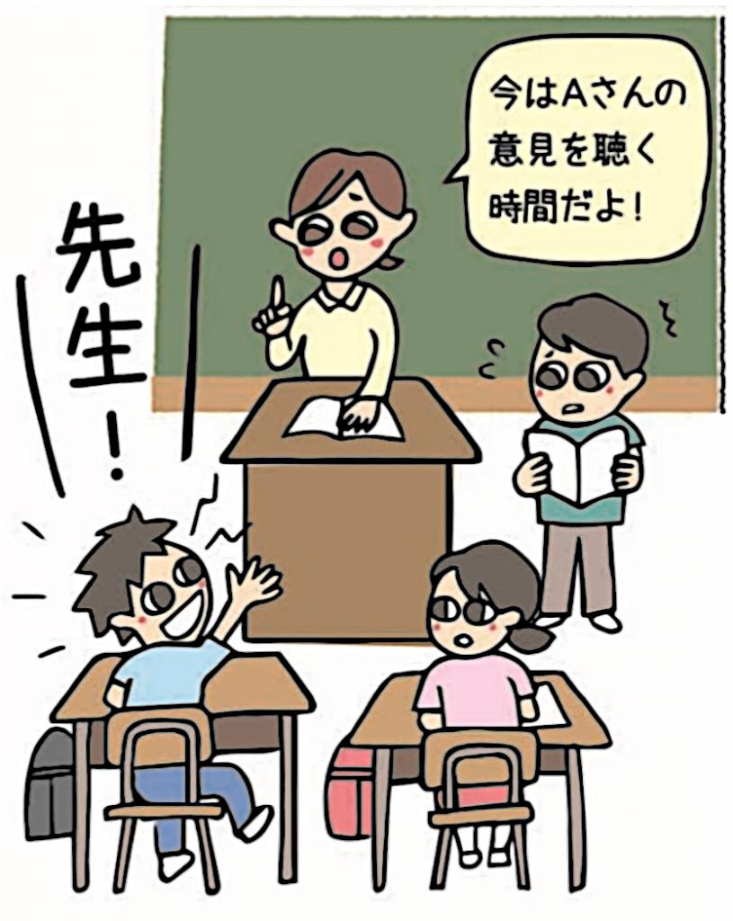 子供「先生!」先生「今はAさんの意見を聞く時間だよ」