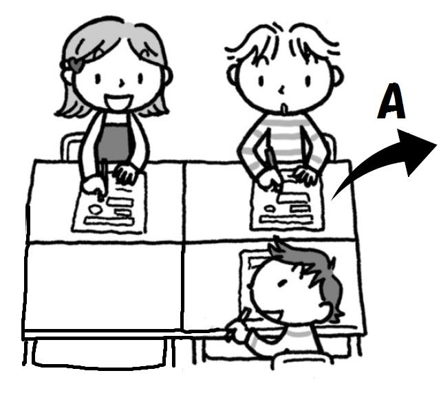 2つの文章を並べ、同じ内容のところ、どちらかにしか書かれていないところを見付け、印を付けていきます。