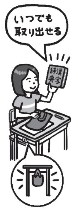 漢字辞典は、いつでもすぐに使えるように、バッグや袋に入れて机の脇にぶら下げておくとよいです。