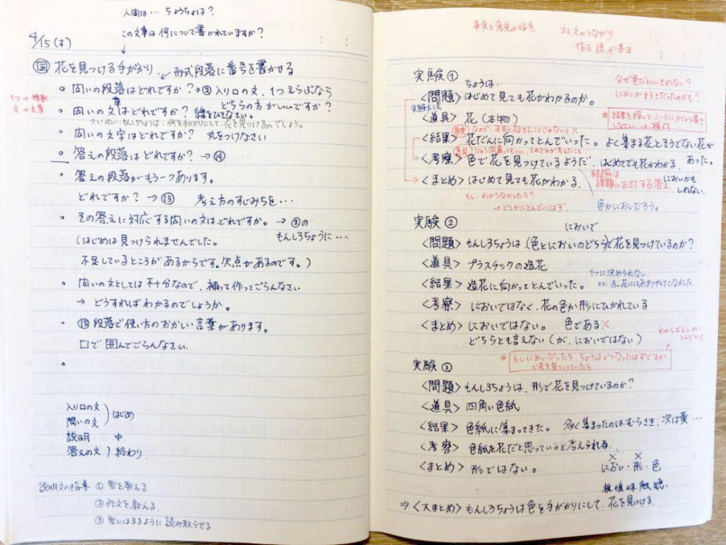 【資料写真1】国語「白いぼうし」の教材研究ノート