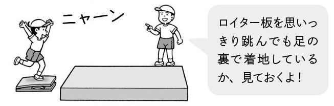 「ロイター板を思いっきり跳んでも足の裏で着地しているか、見ておくよ!」