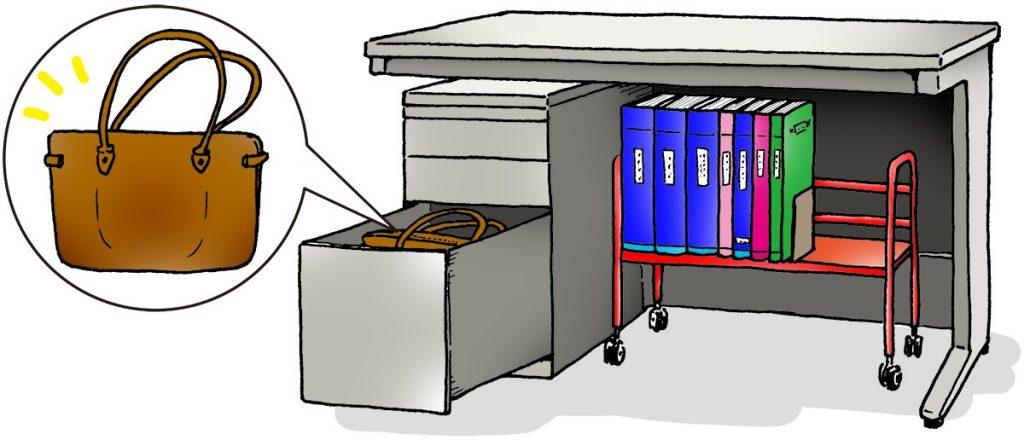 足元に棚があれば、そこをファイル置き場にするのがおすすめです。