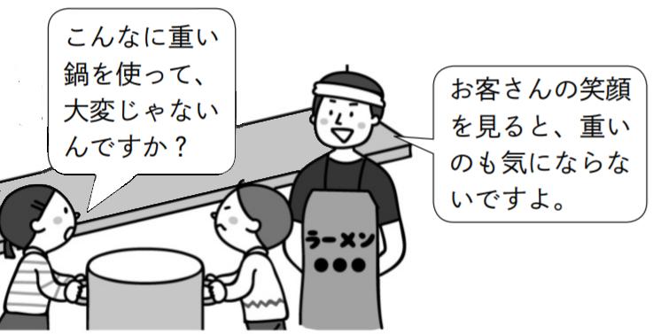 子供「こんなに重い鍋を使って、大変じゃないんですか?」ラーメン屋さん「お客さんの笑顔を見ると、重いのも気にならないですよ。」
