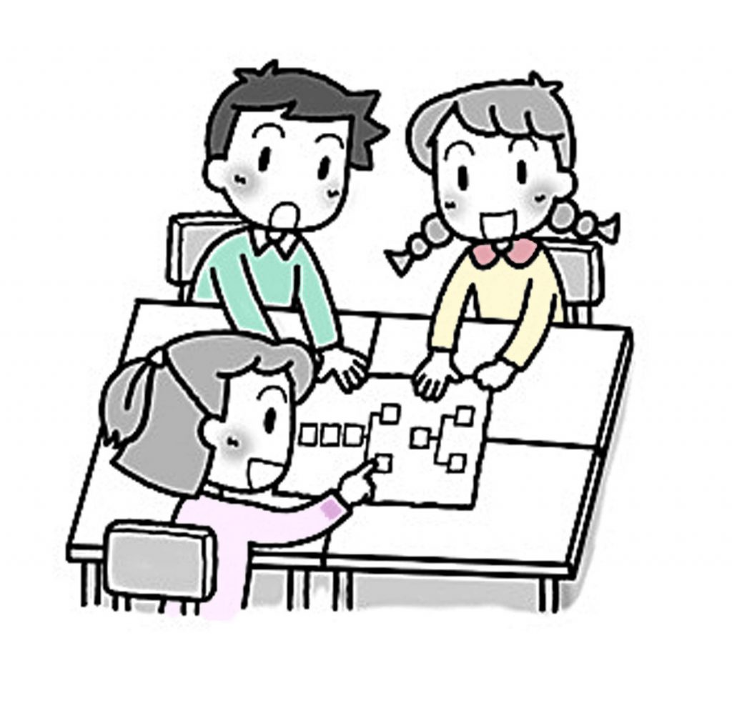 「段落どうしの関係をとらえ、説明のしかたについて考えよう」指導アイデアのイメージイラスト