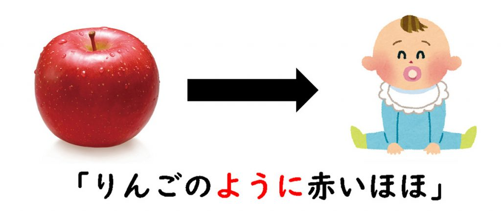 りんごのように赤いほほ