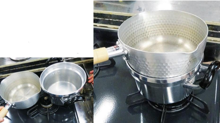 1つのコンロで、鍋を2つ使う方法を試している様子