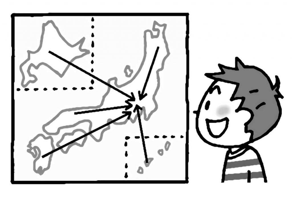 日本地図・商品がどこから来ているか?