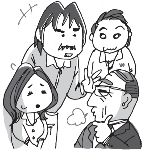 いじめを教頭に報告する学年の先生達