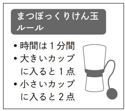まつぼっくりけん玉ルール • 時間は1分間 • 大きいカップに入ると1点 • 小さいカップ に入ると2点
