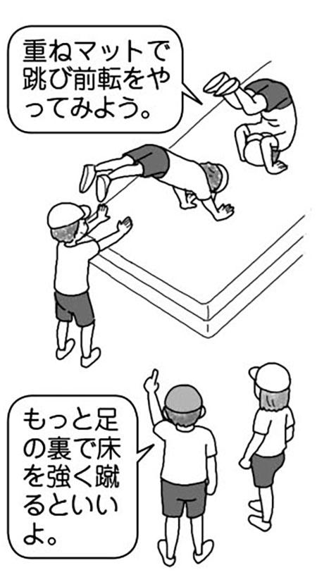重ねマットで跳び前転をやってみよう。もっと足の裏で床を強く蹴るといいよ。