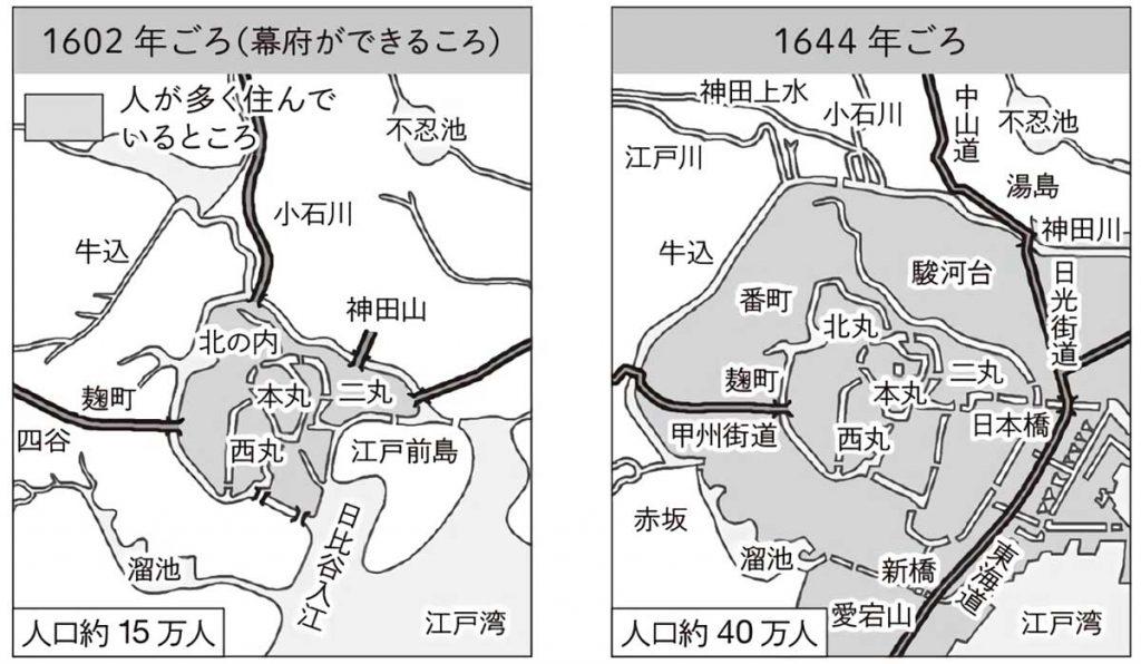 1602年と1644年の江戸の町の様子